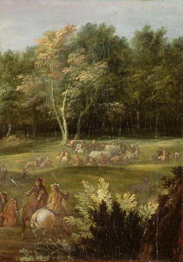 Cavaliers en lisière de forêt