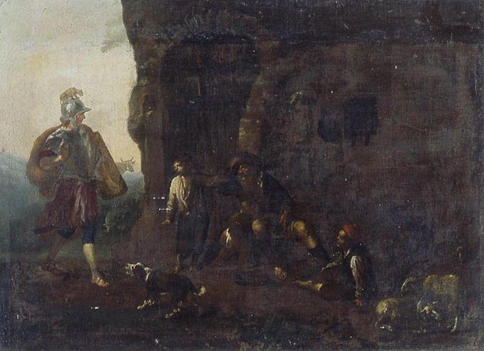 Soldat romain rendant visite à un pauvre vieillard accompagné de deux enfants dans une ruine ( Bélisaire ?)