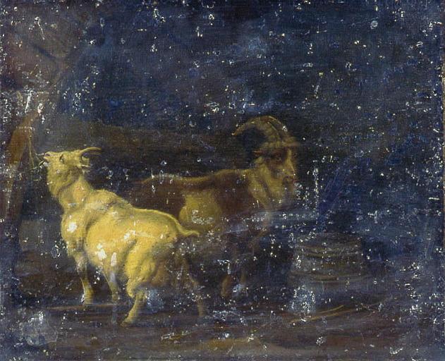 Bouc et chèvre à l'étable