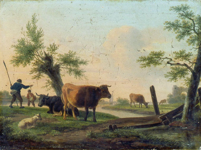 SWAGERS Frans : Paysage avec quatre vaches, un mouton et deux bergers