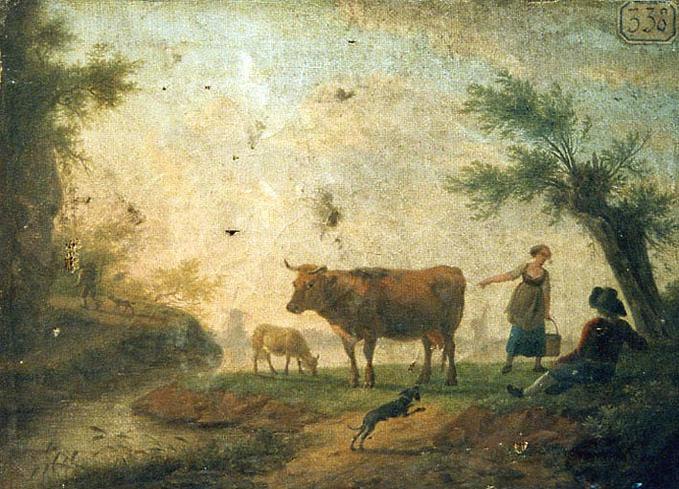 Paysage avec vache, mouton, chien, berger et bergère