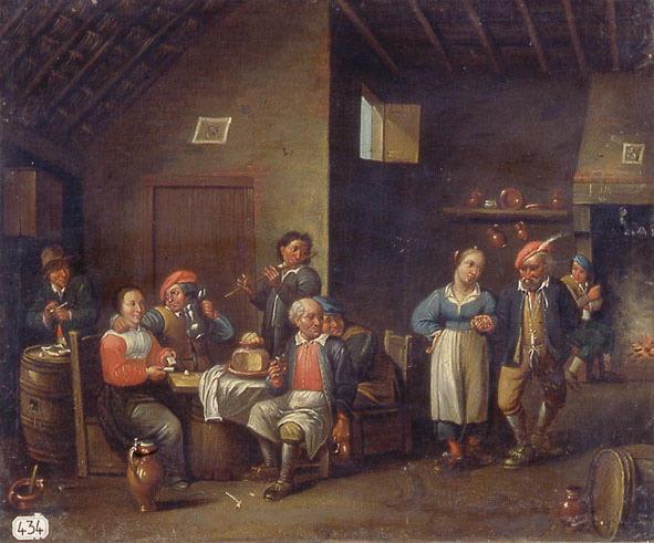 TENIERS David II, TENIERS le Jeune (dit, genre de), anonyme : Scène d'auberge avec fumeur, joueuse de cartes, buveurs et danseuses