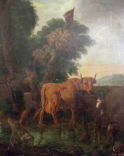 VELDE Adriaen van de (genre de), anonyme : Animaux passant le ruisseau, Le passage du gué (autre titre)