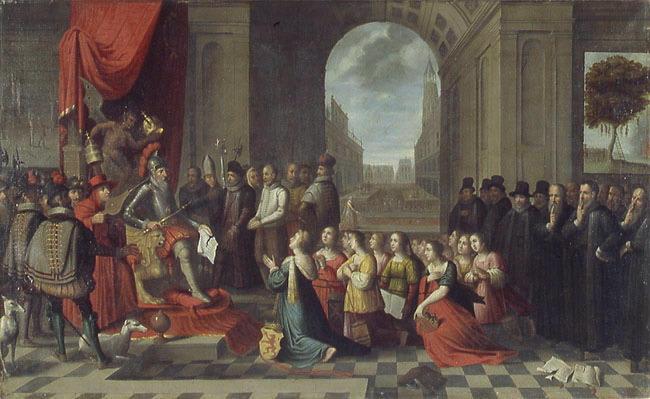 anonyme, VENNE Adriaen Pietersz Van de (d'après) : Comparution satirique du gouvernement du duc d'Albe (la révolte des Pays-Bas )
