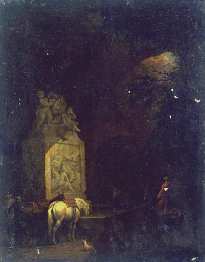 VERDUSSEN Jan Peeter : L'Abreuvoir ou Cavaliers faisant boire leurs montures à une fontaine