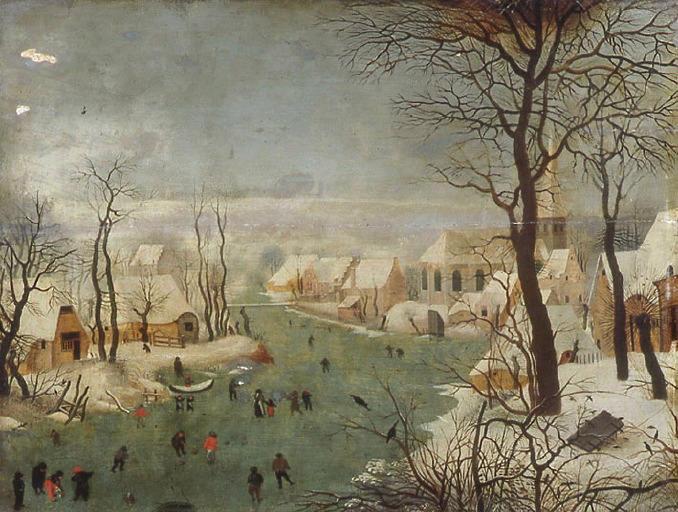 anonyme, BRUEGHEL Pieter I (dit, d'après) : Paysage d'hiver avec rivière gelée. Les patineurs