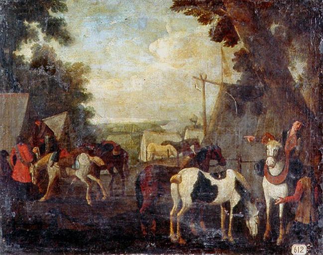 Campement militaire avec chevaux