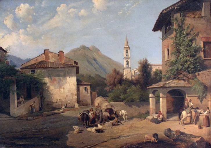 Paysage à l'abreuvoir Vue de village