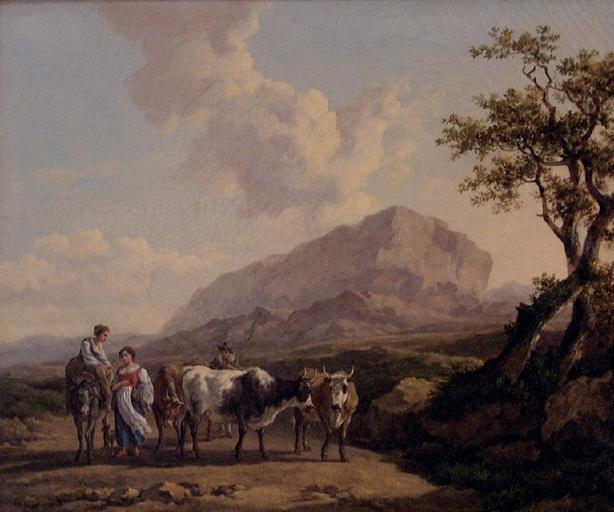 Paysage et animaux ou Paysans conduisant un troupeau de vaches dans un paysage_0