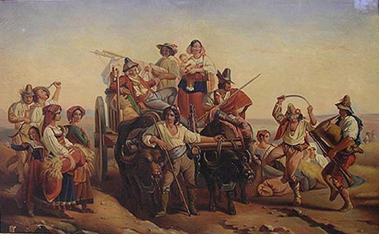 L'arrivée des moissonneurs dans les marais Pontins_0