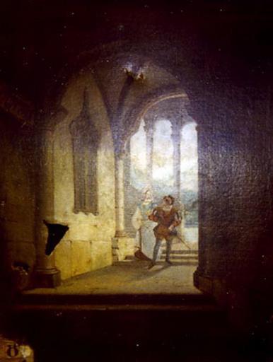 Le cloître, jeune seigneur et sa dame_0