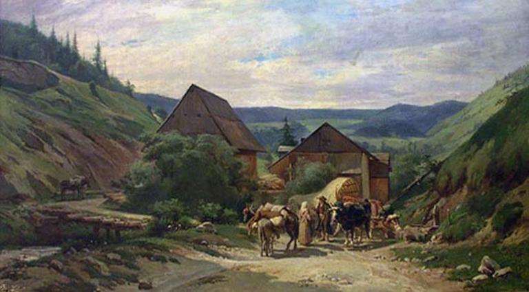 Paysage et moulin au dessus de Morez