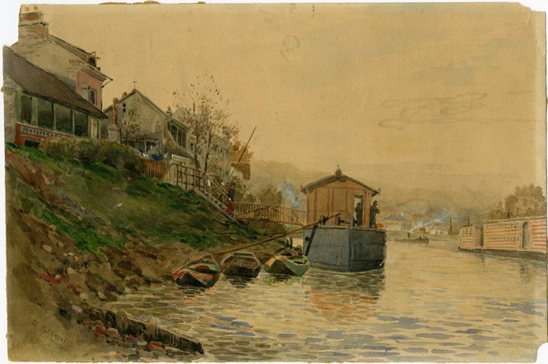 CLERMONT de (peintre) : Bords de Seine (Titre fictif)