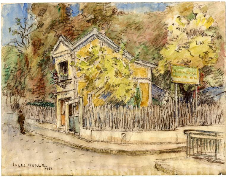 MERLE Jules (dessinateur) : Guinguette 'Au moulin joli' (Titre fictif)