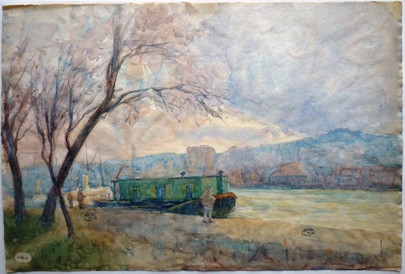 GERARD Pierre Jean (peintre) : Bords de Seine à Suresnes (Titre fictif)