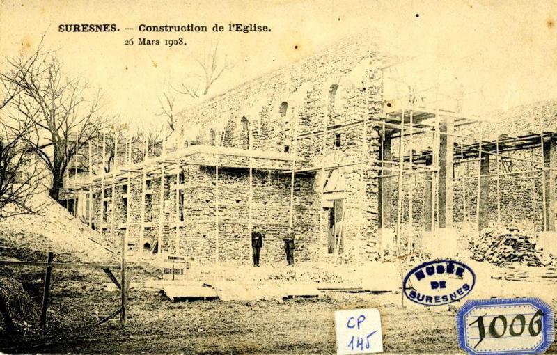 anonyme : Suresnes, Construction de l'église. 26 mars 1908