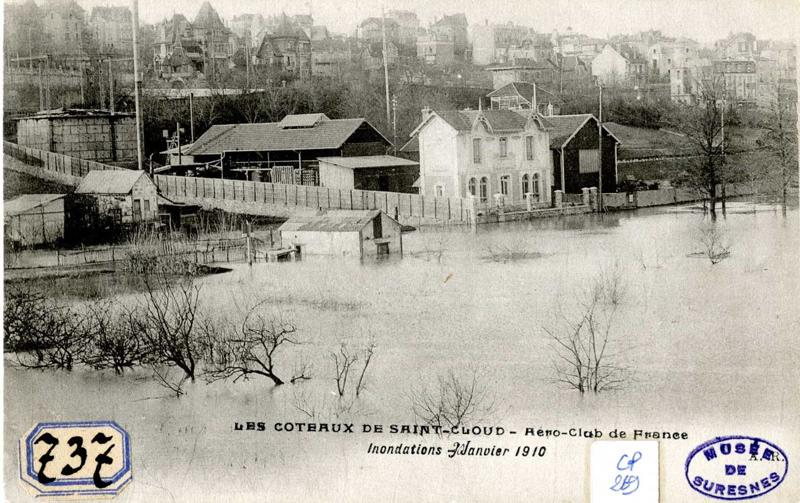 anonyme : Les coteaux de Saint-Cloud. Aéro-club de France. Inondations. Janvier 1910