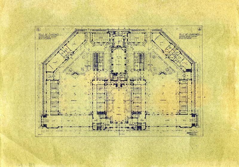 MAISTRASSE Alexandre (architecte) : Ecole primaire Aristide Briand de la cité-jardins - Plan d'ensemble (Titre fictif)