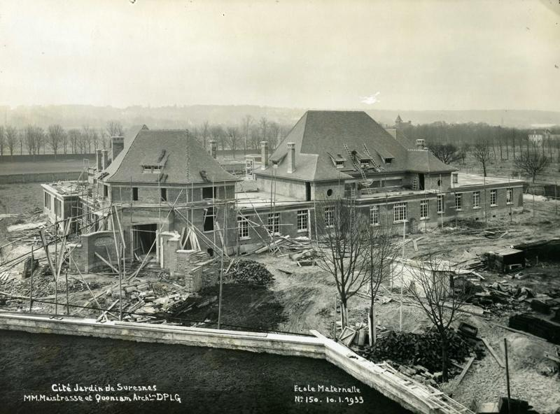 anonyme : Ecole maternelle Wilson de la cité-jardins en construction (Titre fictif)