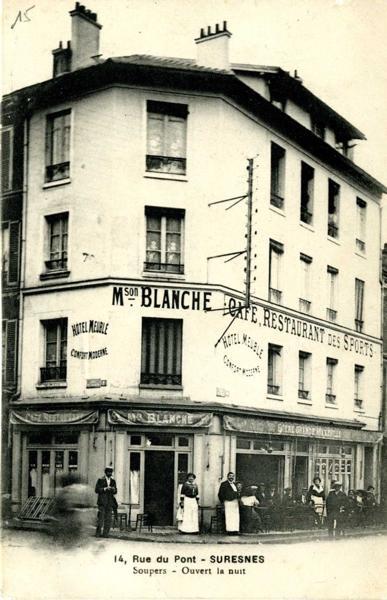 Suresnes - 14, Rue du Pont (Maison Blanche : café, restaurant des sports)