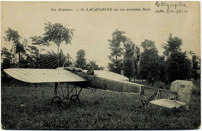 Nos Aviateurs. - G. Lacassagne sur son monoplan Borel_0