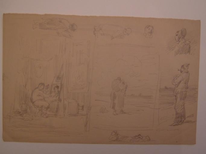 Peintre devant son chevalet et figures diverses de Cayeux-sur-Mer_0