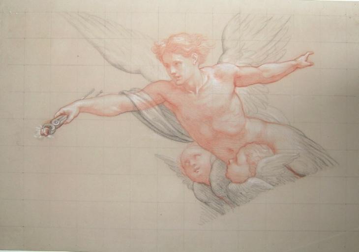 Ange ailé portant l'instrument d'un martyr et deux anges_0