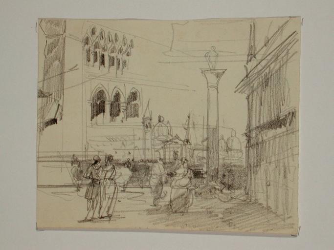 Venise, la Piazzetta San-Marco et facade architecturale (recto) ; scène de genre  : femme âgée avec enfants et paysage urbain -(verso) non reproduit_0