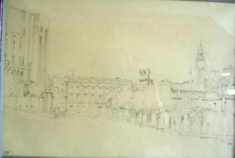 La ville d'Avignon, en contrebas du palais des Papes (c. 1845)_0