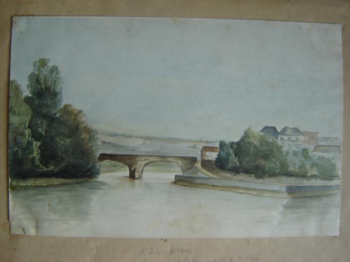 L'Isle Adam, pont de pierre entre le Prieuré et l'île de la Cohue avant 1870_0
