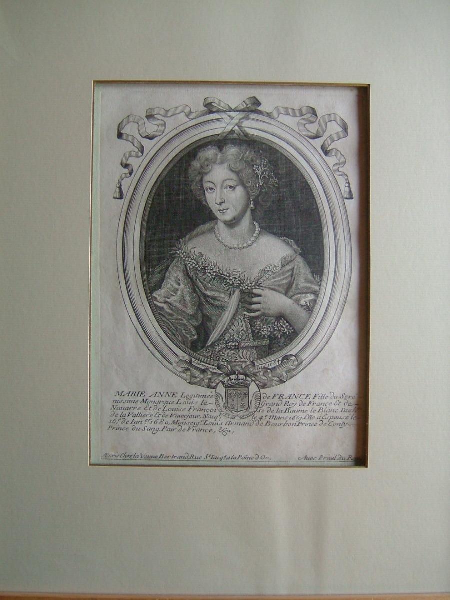 Marie Anne Légitimée de France, fille du sérenissime Monarque Louis le Grand Roy de France et de Navarre et de Louise Françoise de la Baume le Blanc, duchesse de Lavallière et de Vaujours