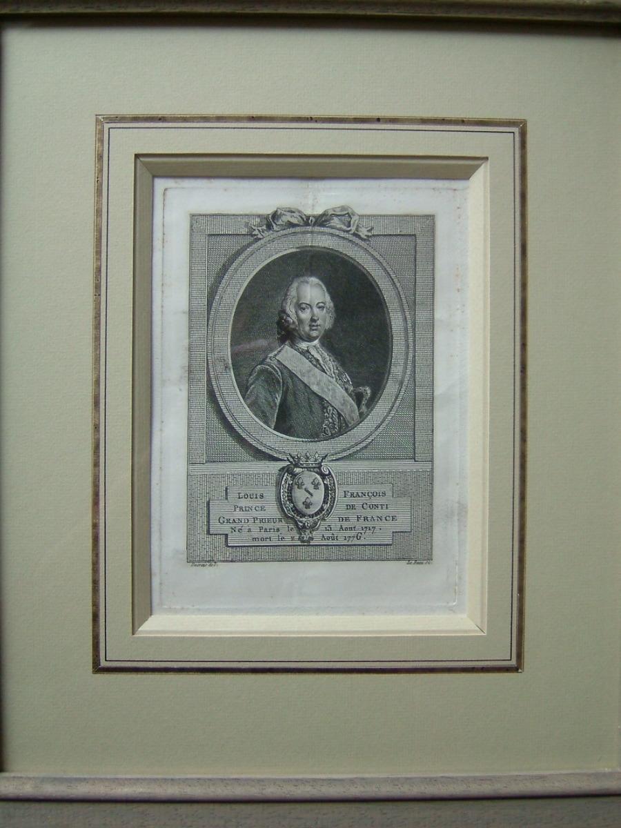 LE BEAU Pierre Adrien (graveur), DESRAIS Claude Louis (d'après, peintre) : Louis François, Prince de Conti, Grand Prieur de France, né à Paris le 13 août 1717, mort le 2 août 1776
