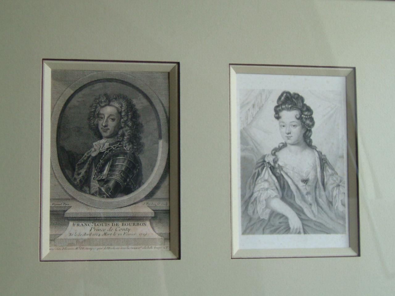 TARDIEU Jean Charles, TARDIEU-COCHIN (dit), RIGAUD Hyacinthe (d'après) : François Louis de Bourbon, Prince de Conty, né le 30 avril 1664. Mort le 22 février 1709 et Marie Thérése de Condé, Princesse de Conti.