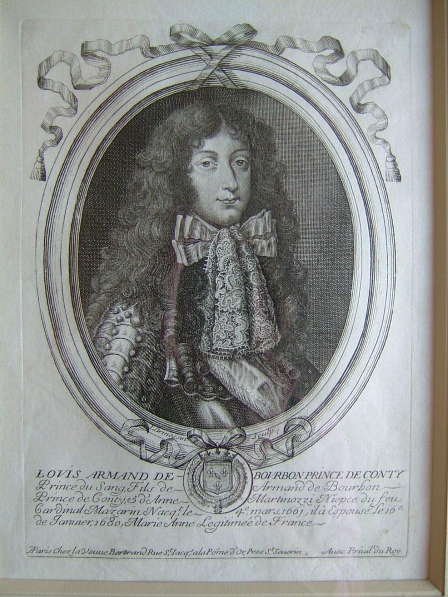 Louis Armand de Bourbon, Prince de Conty, 1661-1685, dit Louis Armand 1er, fils d'Armand de Bourbon prince de Conty et d'Anne Martinozzi, nièce du feu Cardinal Mazarin, naquit le 4 mars 1661, épousa en janvier 1680 Marie Anne Légitimée de France