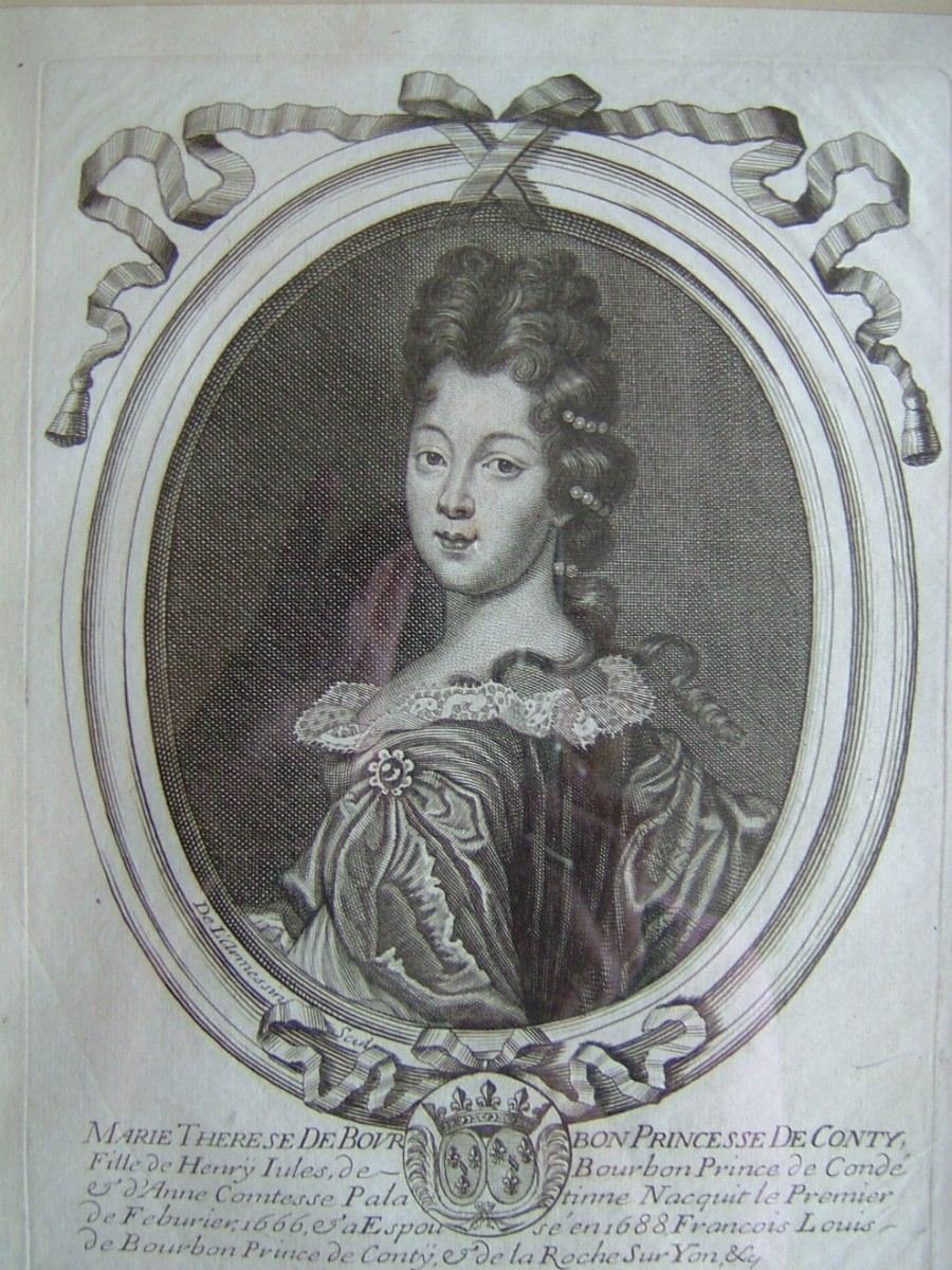 Marie Thérese de Bourbon, Princesse de Conty, fille de Henri Jules de Bourbon, Prince de Condé et Dame Contesse Palatinne née en 1666, décédée en 1732, a épousé en 1688 François Louis de Bourbon Conty