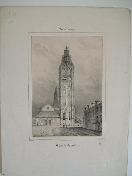 DESROSIERS (imprimeur, lithographe), MORET (graveur) : Eglise de Verneuil