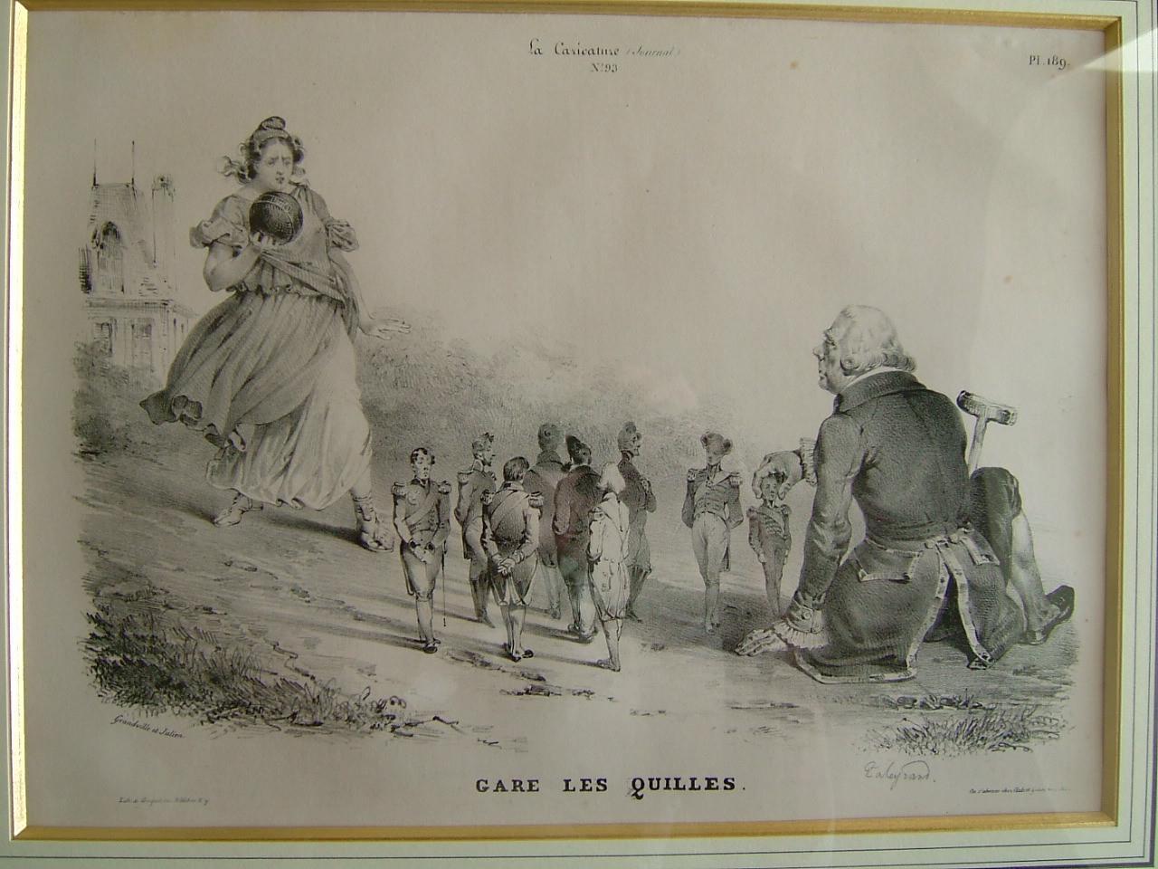 GRANDVILLE (dit), GERARD Jean Ignace Isidore (caricaturiste), JULIEN (lithographe) : Gare les quilles
