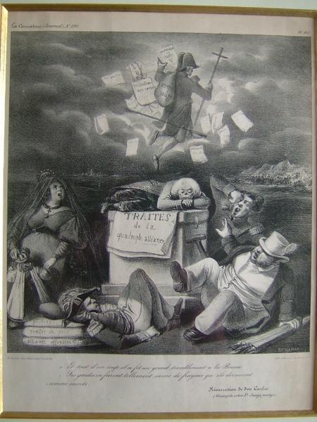 La caricature (n° 196) ; Et tout d'un coup il se fit un grand tremblement à la Bourse. Ses gardes en furent tellement saisis de frayeur qu'ils devinrent comme morts_0