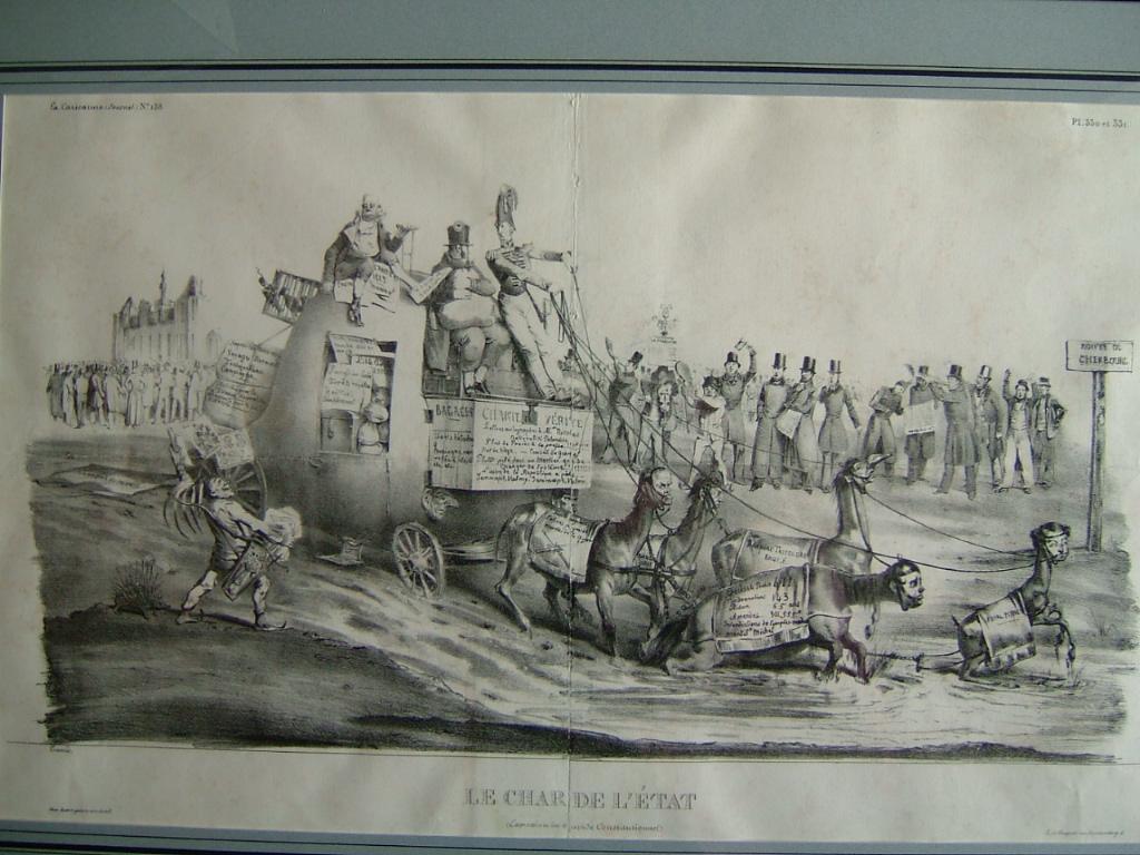 La Caricature (n° 158) ; Le char de l'Etat (expression du stupide Constitutionnel)