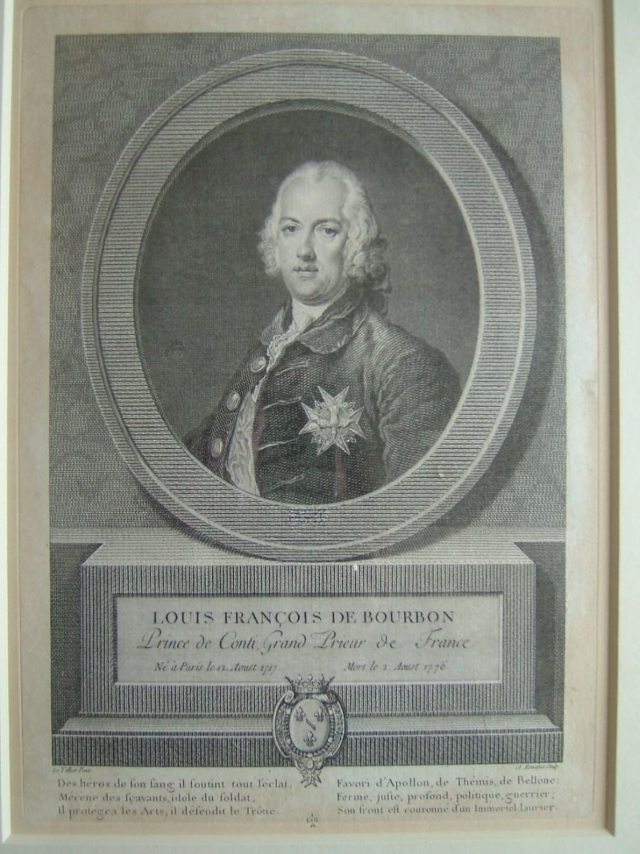 ROMANET Antoine Louis (graveur), LE TELLIER Pierre (d'après) : Louis François de Bourbon, prince de Conti, Grand Prieur de France né à Paris le 12 août 1717, mort le 2 août 1776