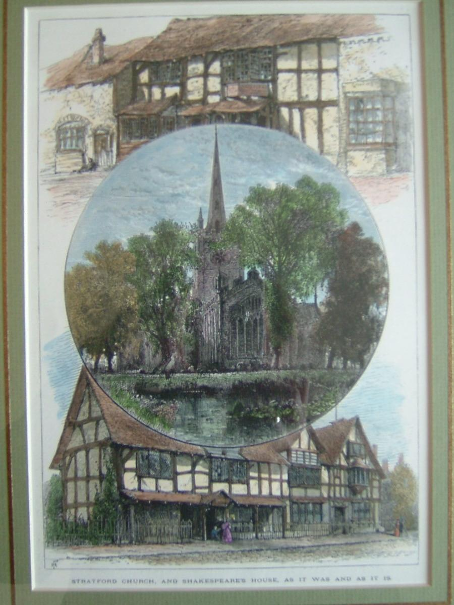 Strafford upon Avon; Strafford church and Shakespeare House as it was and as it is_0