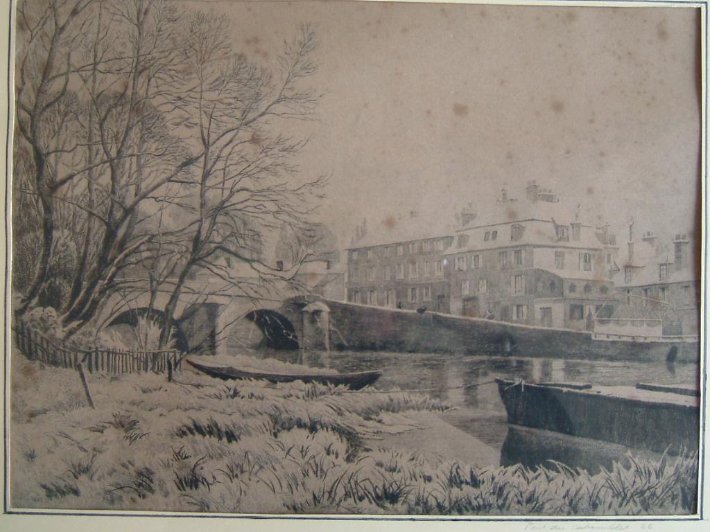 BASTARD Léon de : L'Isle-Adam, le pont du Cabouillet sous la neige