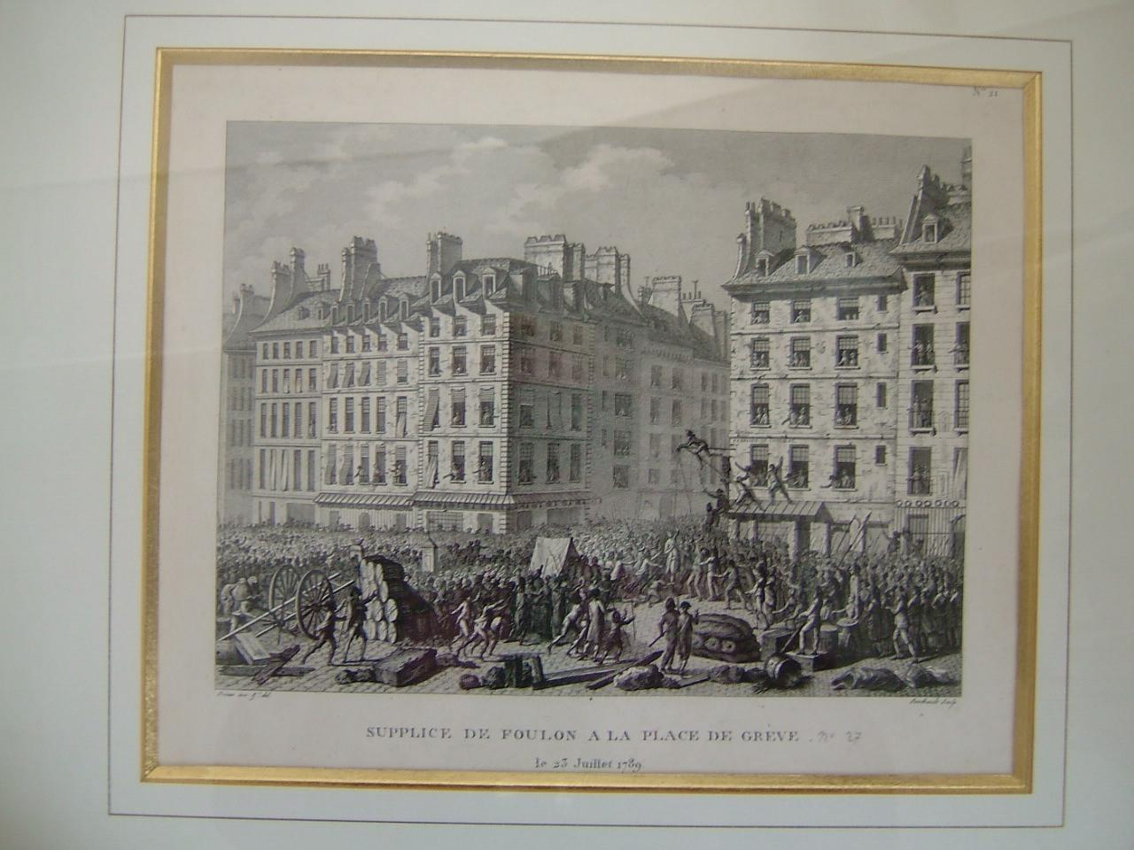 PRIEUR Jean Louis le Jeune (dessinateur), BERTHAULT Pierre Gabriel (graveur) : Supplice de Foulon à la place de Grève le 23 juillet 1789 (Série d'évènements révolutionnaires)