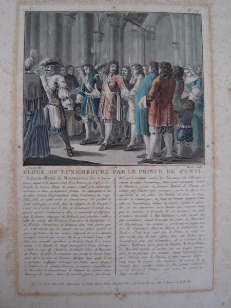 MORRET Jean-Baptiste, SERGENT-MARCEAU Antoine Louis François (d'après, dessinateur) : Eloge de Luxembourg par le Prince de Conti 1788