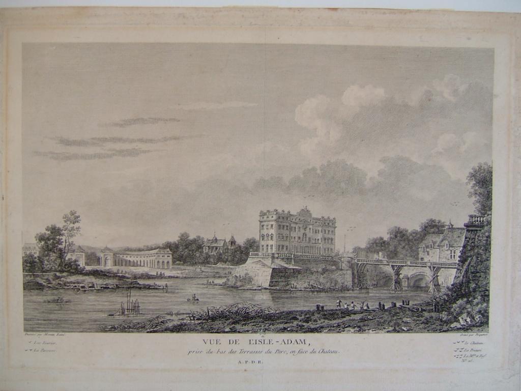 PICQUENOT Michel, MOREAU Louis Gabriel (d'après), MOREAU l'Aîné (dit) : Vue de l'Isle-Adam, prise du bas des Terrasses du Parc en face du château