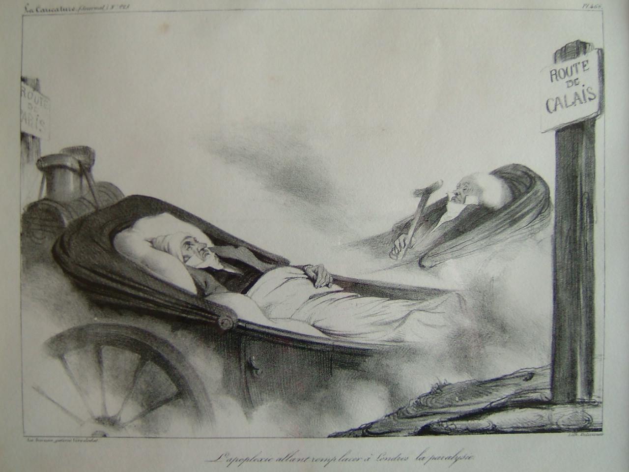La Caricature (n° 225) : L'apoplexie allant remplacer à Londres la paralysie; le Général Sebastiani remplacant Talleyrand comme ambassadeur à Londres 7 janvier 1835_0