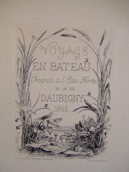 Frontispice : Voyage en bateau croquis par Daubigny en 1862