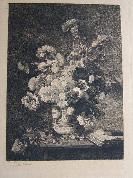 Bouquet dans un vase à tête_0