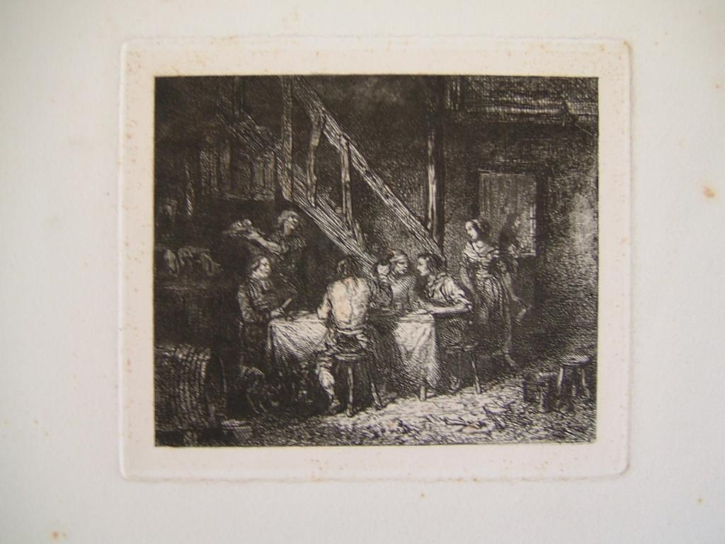 JACQUE Charles : Repas de paysans dans une grange