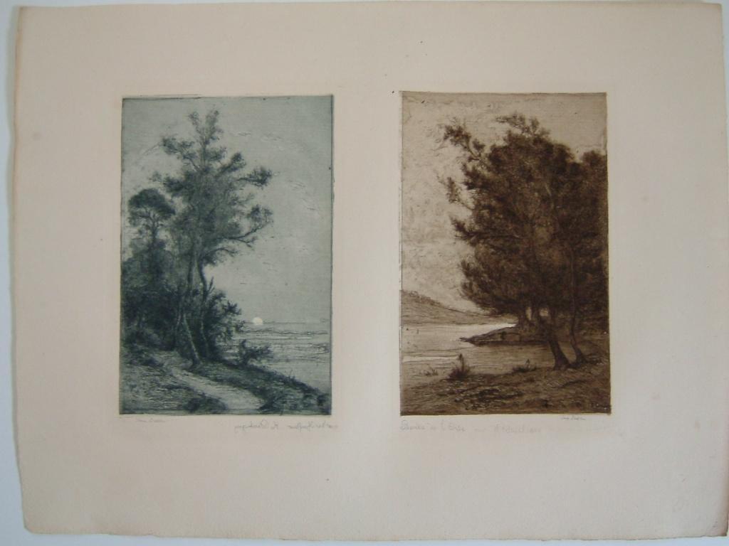 Daubigny, souvenirs et croquis (11) : Deux vues l'une du bord de l'Oise, l'autre de Honfleur par Karl Daubigny_0
